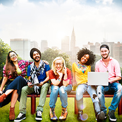 A group of college students on a bench. Click for articles and videos about college students andstudent loans.