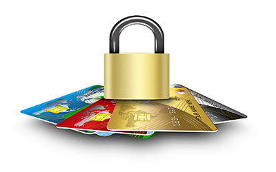 Image of credit cards with a pad lock on top of them to protect your credit cards