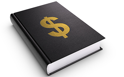image of a book with a dollar sign on it for common credit-related terms