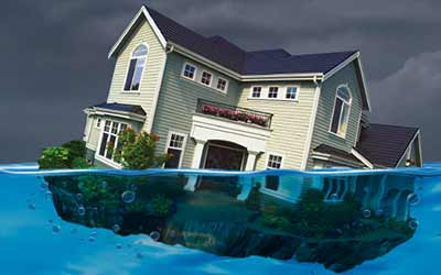 An illustration of a home floating in water.