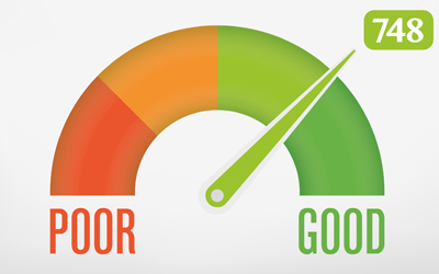 An illustration of a gauge pointing to a good credit score of 748
