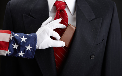 Uncle Sam taking a man's wallet out of his coat pocket.
